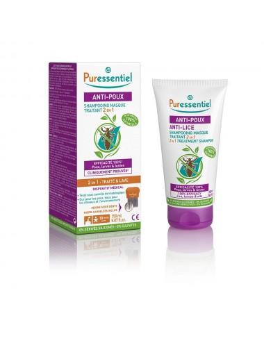 Puressentiel Antipoux Shampooing masque traitant 2 en 1 Anti-Poux avec peigne 150ml