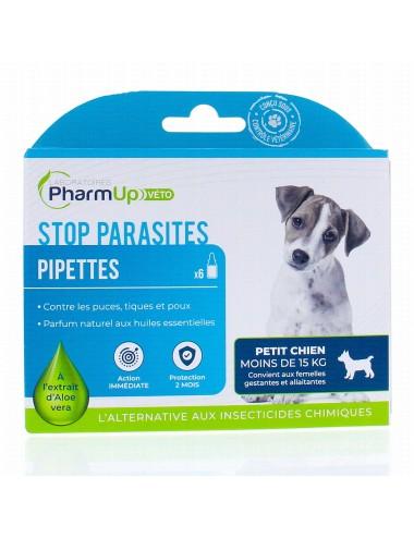 PharmUp Véto stop parasite petit chien moins de 15kg 6 pipettes 1,5ml